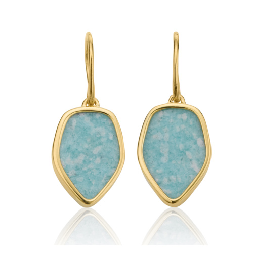 Gold Vermeil Atlantis Flint Drop Earrings - Amazonite 1