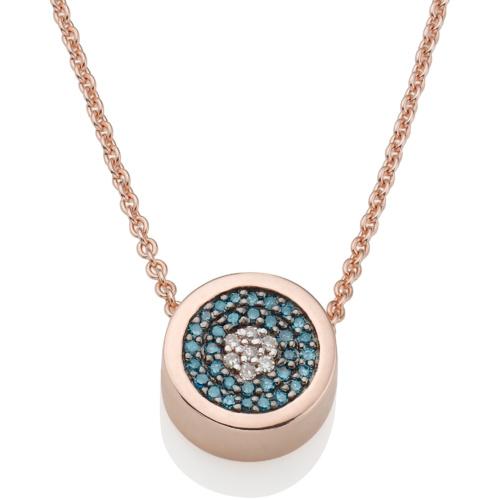 Rose Gold Vermeil Evil Eye Necklace - Blue & White Diamonds