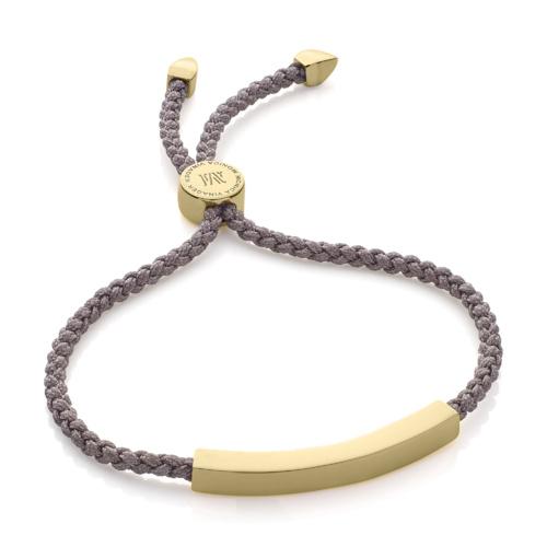 Gold Vermeil Linear Friendship Bracelet - Mink Cord