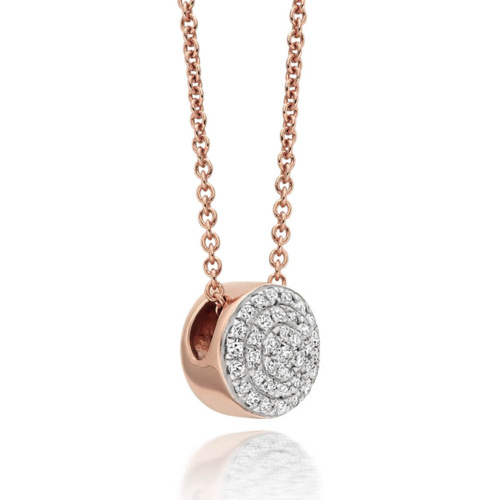 Rose Gold Vermeil  Ava Button Necklace - Diamond - Monica Vinader