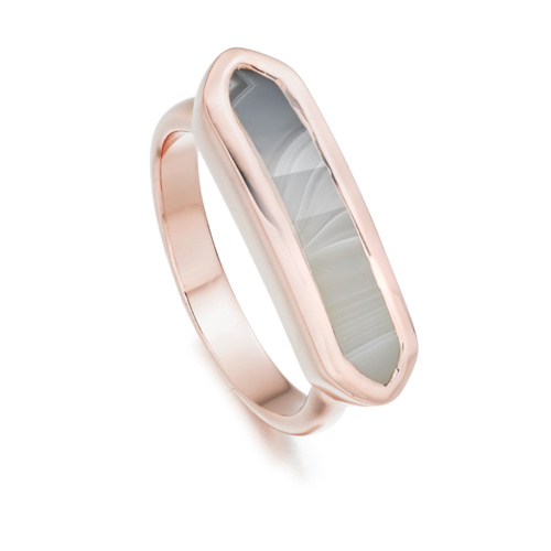 Rose Gold Vermeil Baja Ring - Grey Agate - Monica Vinader