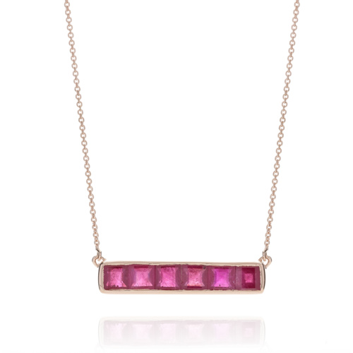 Rose Gold Vermeil Baja Precious Necklace - Ruby