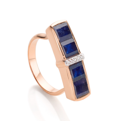 Rose Gold Vermeil Baja Precious Ring - Blue Sapphire & Diamond
