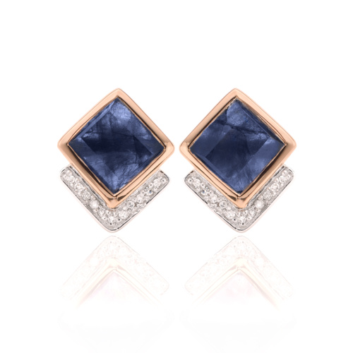 Rose Gold Vermeil Baja Precious Stud Earrings - Blue Sapphire & Diamond