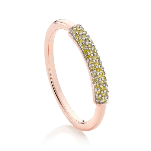 Rose Gold Vermeil Stellar Diamond Stacking Ring - Yellow Diamond - Monica Vinader
