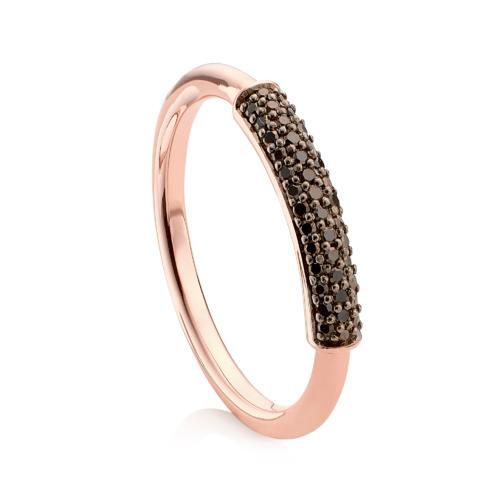 Rose Gold Vermeil Stellar Stacking Ring - Black Diamonds - Monica Vinader