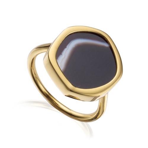 Gold Vermeil Atlantis Gem Ring - Line Onyx