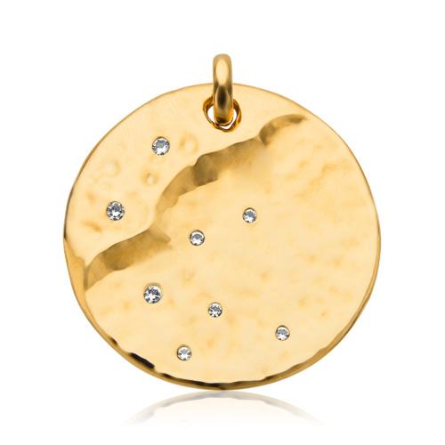 Gold Vermeil Siren Scatter Round Pendant - White Topaz