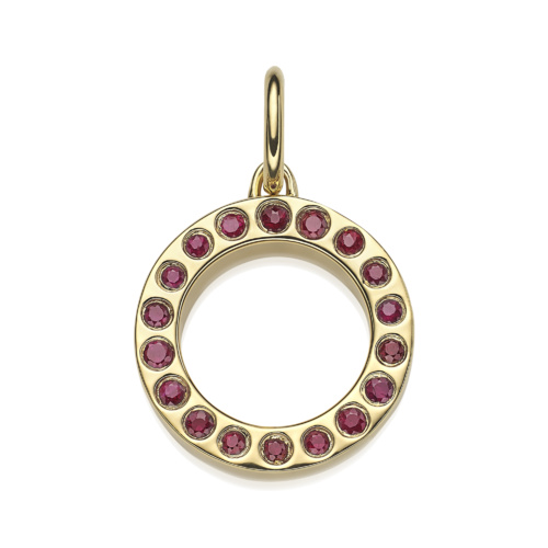 Gold Vermeil Fortune Pendant - Ruby