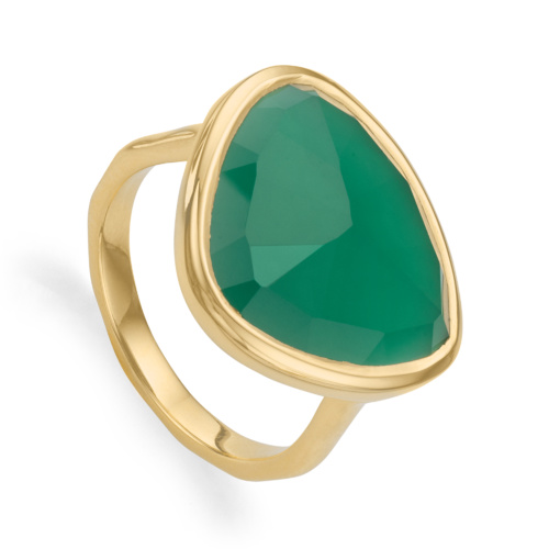 Gold Vermeil Siren Ring - Green Onyx