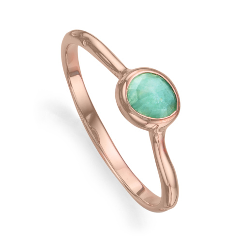 Rose Gold Vermeil Siren Small Stacking Ring - Amazonite