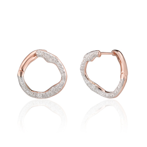 Rose Gold Vermeil Riva Circle Earrings - Diamond