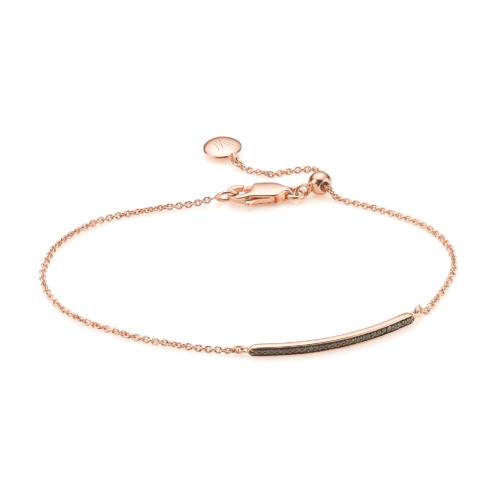 Rose Gold Vermeil Skinny Short Bar Bracelet - Black Diamond - Monica Vinader