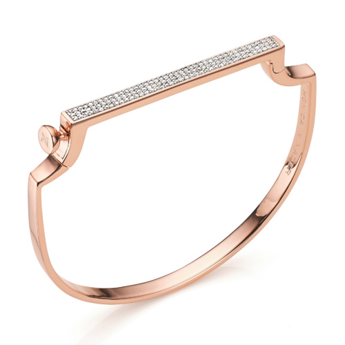Rose Gold Vermeil Signature Thin Bangle - Diamond - Monica Vinader